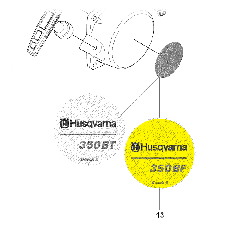 Husqvarna Label Recoil 350Bt 502844003