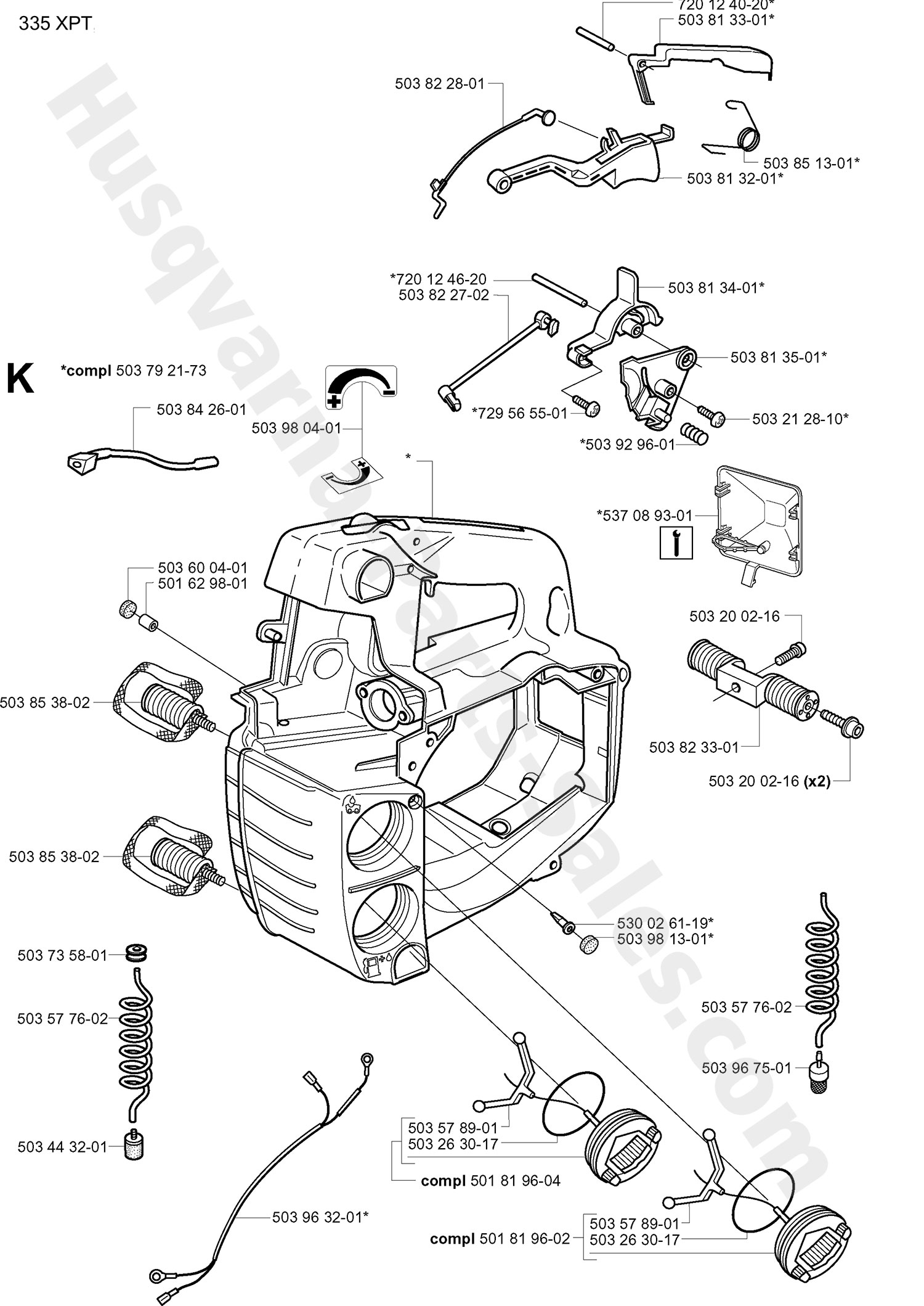 335xpt Husqvarna Professional Chain Saw Fuel Tank Amp Handle