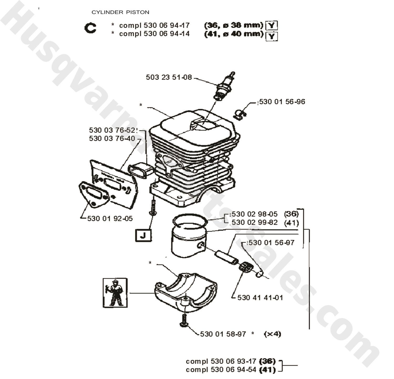 41 Husqvarna Chain Saw Cylinder Piston Parts