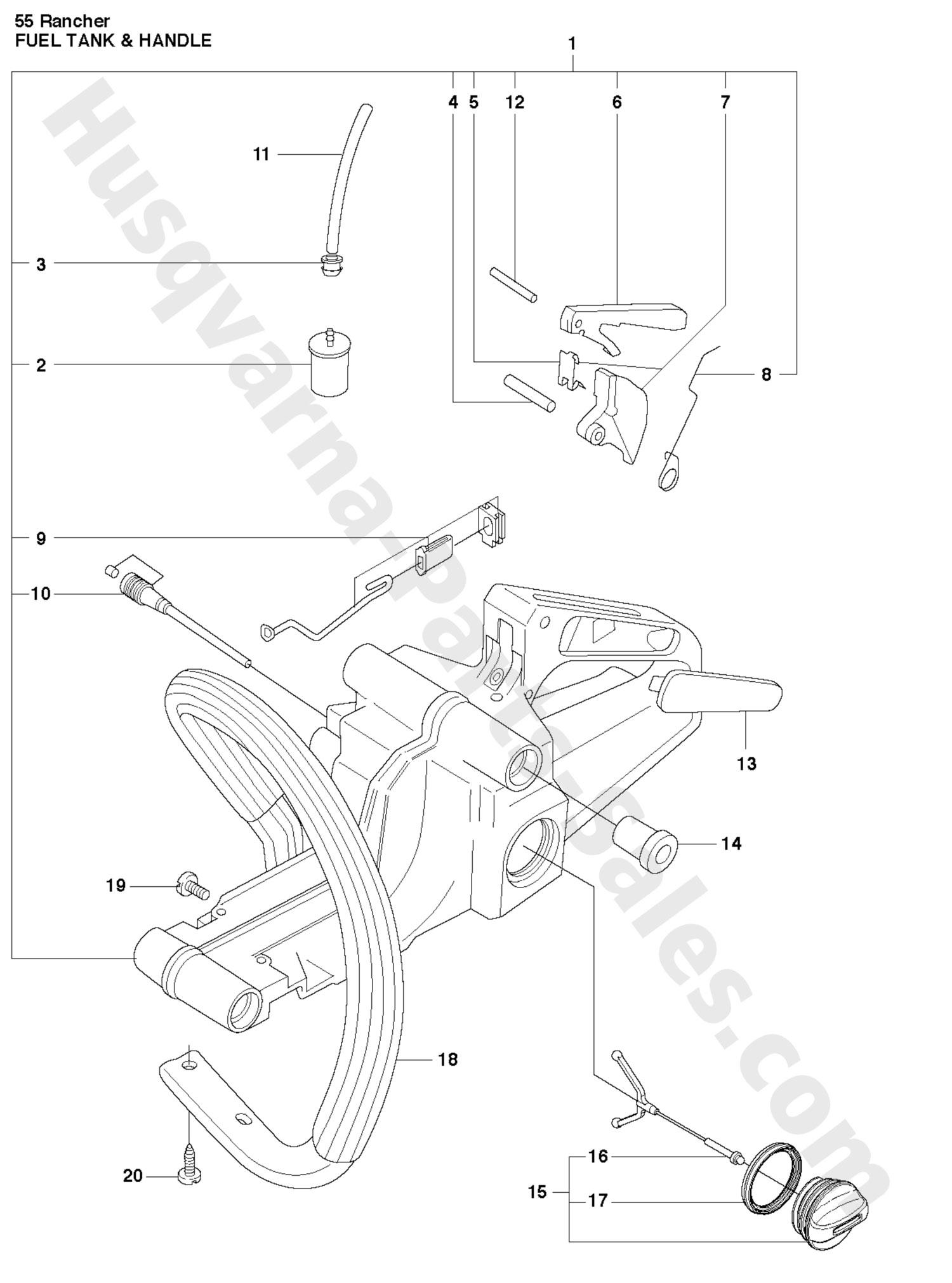 husqvarna 55 rancher parts diagram