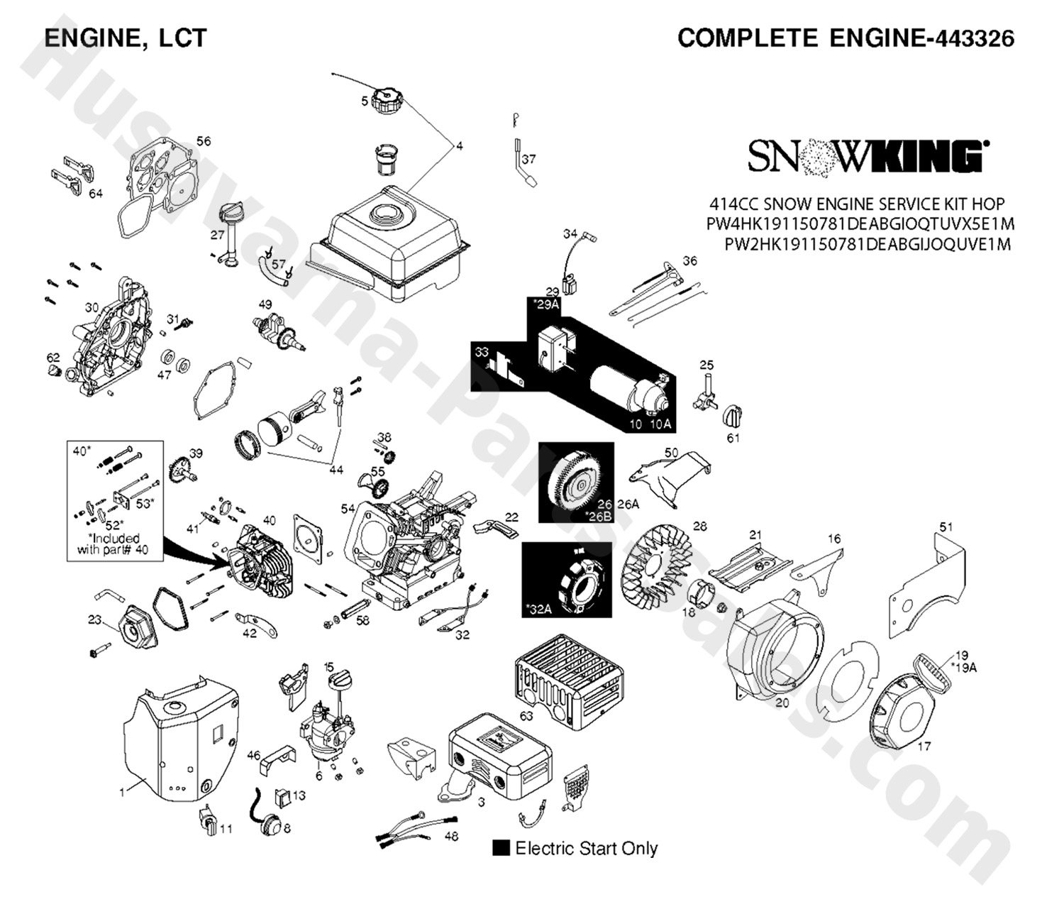 1830 Exl Husqvarna Snow Thrower Engine Parts