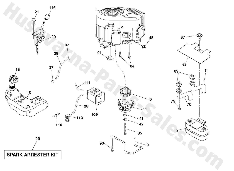 yth22v42ls husqvarna riding mower engine parts rh husqvarna parts sales com husqvarna riding mower engine diagram snapper riding mower engine diagram