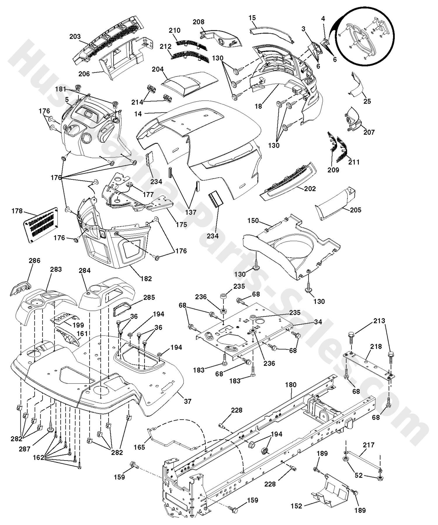 YTH22V46XLS Husqvarna Riding Mower Chassis Enclosure Parts