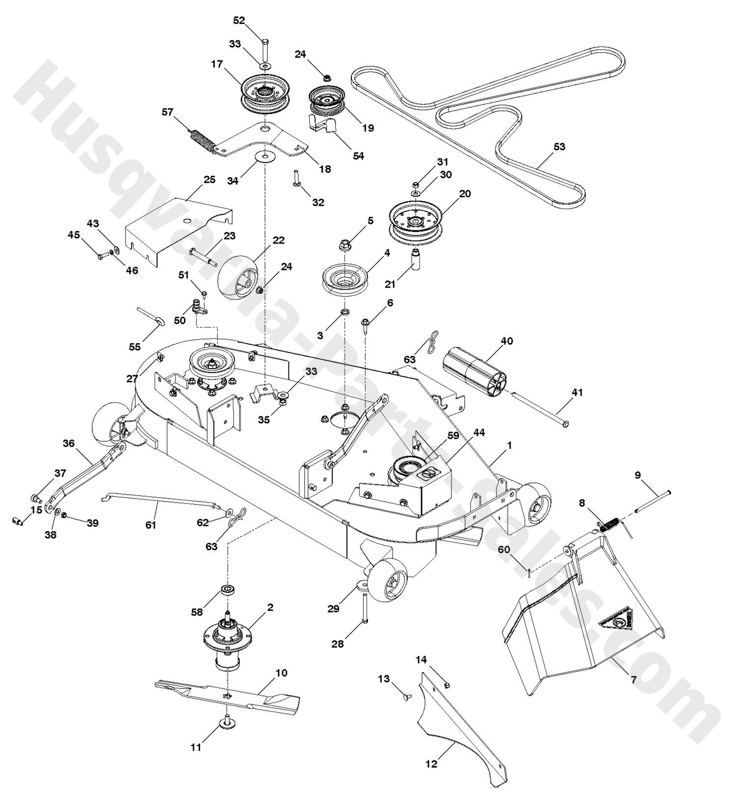 yth24v48ls husqvarna riding mower deck  u0026 cutting deck parts