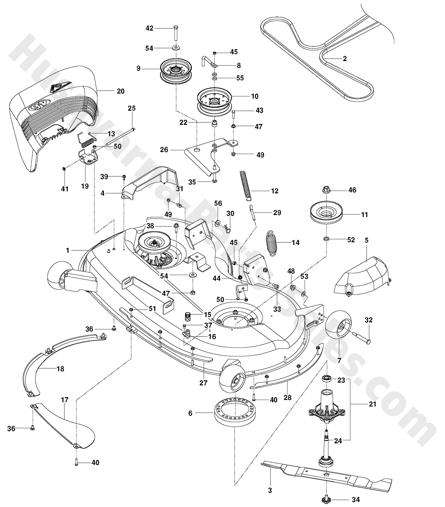 rz4623 husqvarna ztr mowers deck parts
