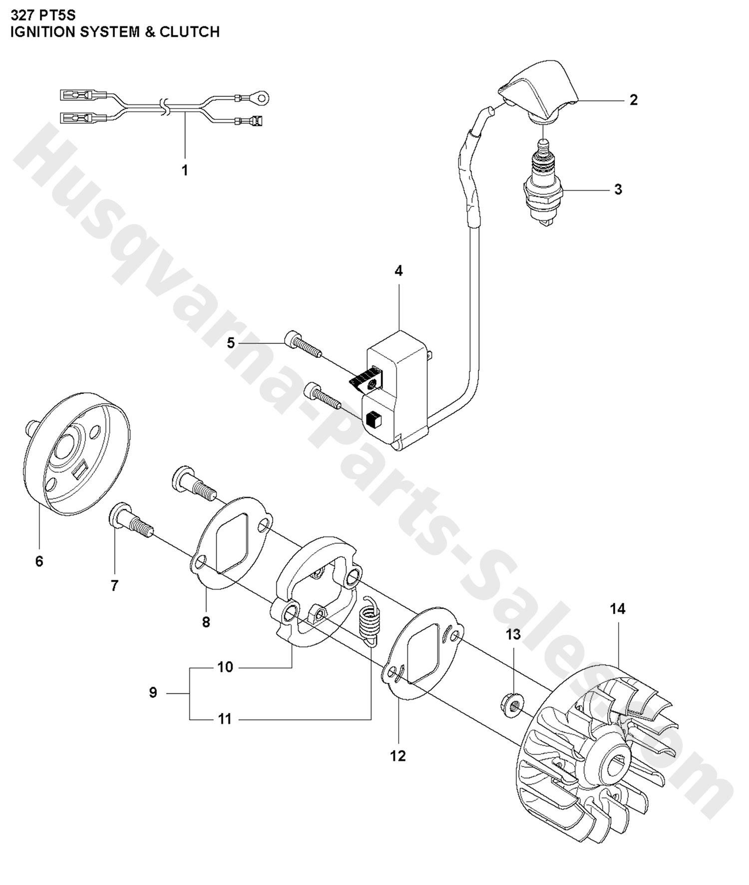327pt5s husqvarna pole saw ignition system  u0026 clutch parts